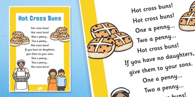 Hot Cross Buns Nursery Rhyme Poster - rhymes, display, poem, song