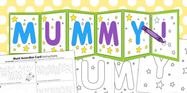 Mummy Accordion Card Template - mummy, accordion, card, template