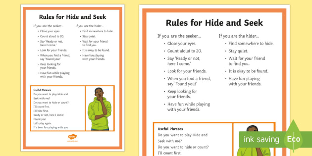 Hide and Seek Rules and Social Scripts