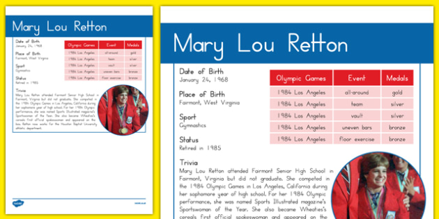 USA Olympians Mary Lou Retton Fact File