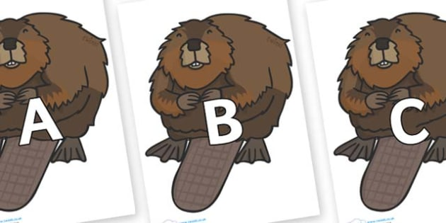 A-Z Alphabet on Beavers - A-Z, A4, display, Alphabet frieze, Display letters, Letter posters, A-Z letters, Alphabet flashcards