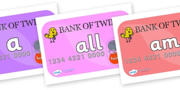 Foundation Stage 2 Keywords on Debit Cards - FS2, CLL, keywords, Communication language and literacy,  Display, Key words, high frequency words, foundation stage literacy, DfES Letters and Sounds, Letters and Sounds, spelling