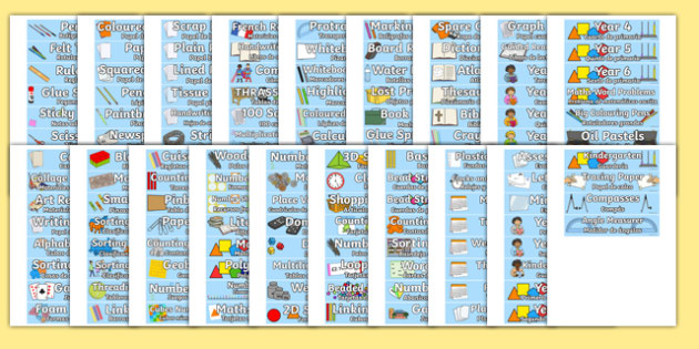 Classroom Equipment Tray Labels English/Spanish - spanish, labels, tray labels, classroom equipment, class, classroom, sign