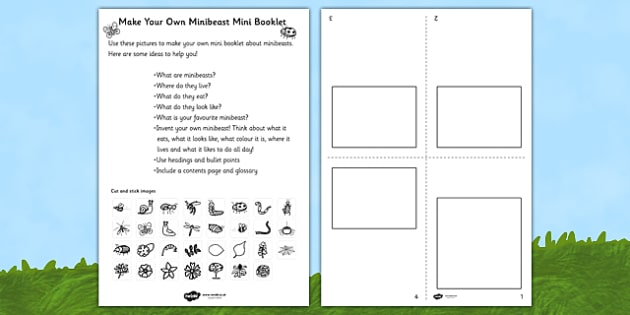 Make Your Own Minibeast Mini Booklet - minibeasts, design, books