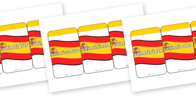 Spanish Numbers 21-31 Flash Cards - spanish, spanish number cards, spanish number aids, spanish numbers to 31 on cards, spanish number flashcards, language