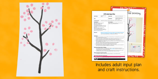 Blossom Tree Printing Craft EYFS Adult Input Plan and Resource Pack - blossom tree, printing, craft, eyfs, adult input, pack
