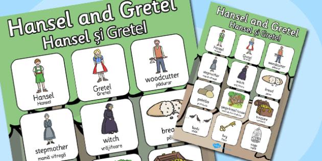 Hansel Gretel Vocabulary Poster Romanian Translation - romanian