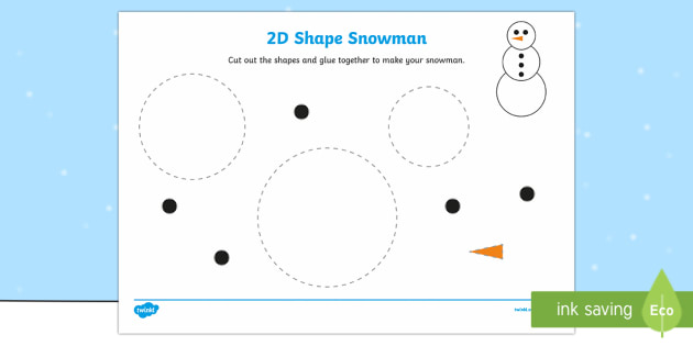 Snowman 2D Shape Cutting Skills Activity