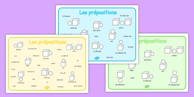 Les prépositions Prepositions Word Mat French - french, prepositions, word, mat, word mat, words