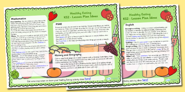 Healthy Eating Lesson Plan Ideas KS2 - health, healthy food, KS2