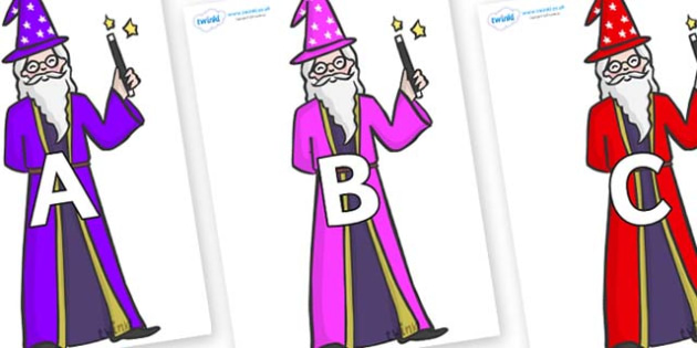 A-Z Alphabet on Wizards - A-Z, A4, display, Alphabet frieze, Display letters, Letter posters, A-Z letters, Alphabet flashcards