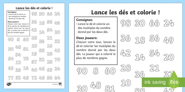 Fiche de cacul lance les d s les multiplications feuille for Les multiplications