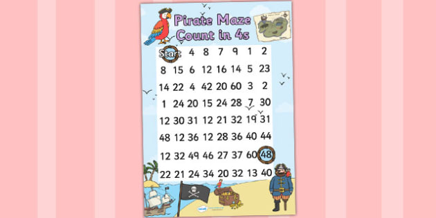Pirate Themed Counting in 4s Maze Worksheet - pirates, count