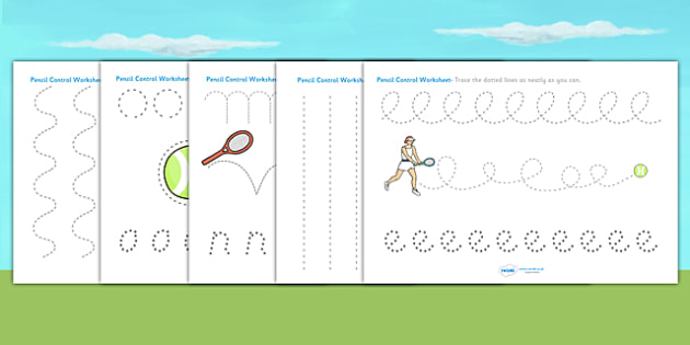 Wimbledon Themed Pencil Control Worksheets - tennis, sports, pe