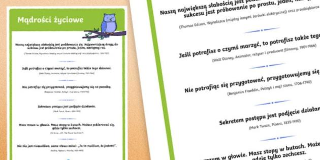 Plakat Mądrości życiowe po polsku