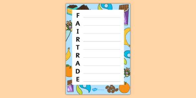Fairtrade Acrostic Poem Template - fairtrade, poetry, poem, poems