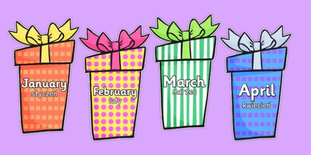 Months on Birthday Presents Polish Translation - polish, months, birthday, presents, display, months of the year
