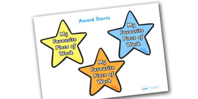 My Favourite Piece of of Work Award Star -my favourite piece of work award star, favourite piece of work, favourite, work, week, star, stars, certificates, award, well done, reward, medal, rewards, school, general, certificate, achievement
