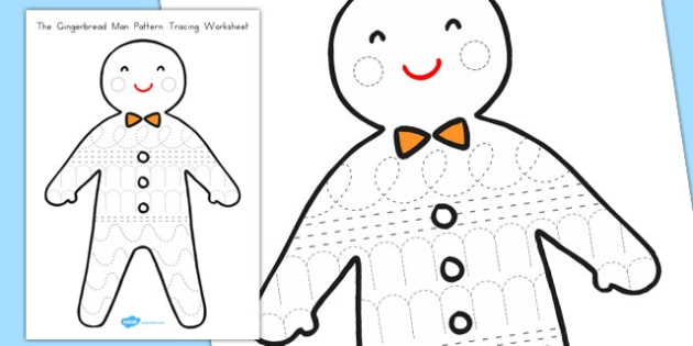 The Gingerbread Man Pattern Tracing Worksheet - australia, fine motor, writing, mark, making, pencil, control