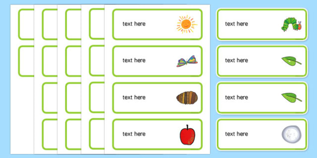 Drawer, Peg, Name Labels to Support Teaching on The Very Hungry Caterpillar - australia