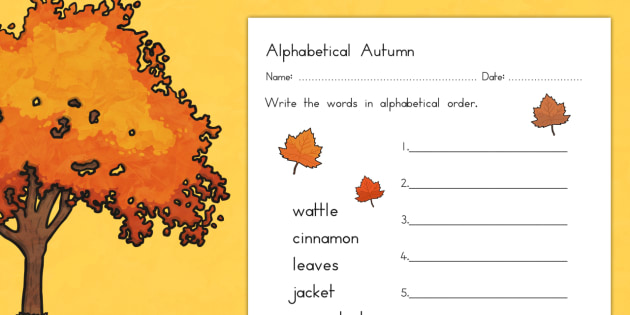 Autumn Alphabet Ordering Worksheet - season, weather, order, sort