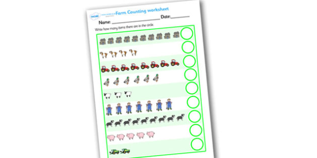 My Counting Worksheet (On the Farm) - Counting worksheet, Farm Animals, counting, activity, how many, foundation numeracy, counting on, counting back, farm, pig, cow, chicken, goat, tractor, farmer, chicken, goat, sheep, hay, milk, eggs