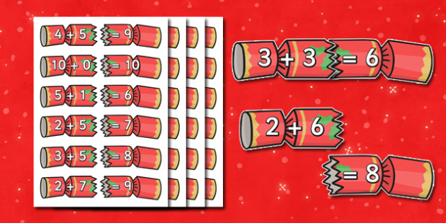 Christmas Cracker Addition Up To 10 Activity - christmas themed addition, christmas addition, christmas cracker, addition up to ten, addition activity