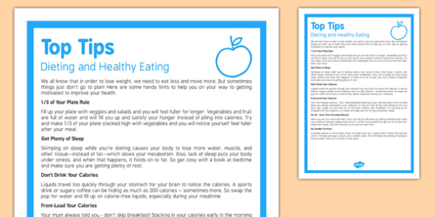 Top Tips – Dieting and Healthy Eating - top tips, dieting, healthy eating, health, eat, diet