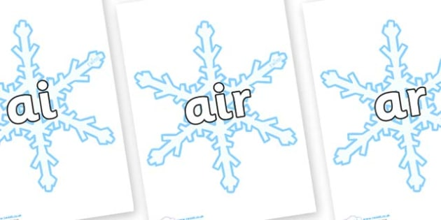 Phase 3 Phonemes on Snowflakes (New) - Phonemes, phoneme, Phase 3, Phase three, Foundation, Literacy, Letters and Sounds, DfES, display