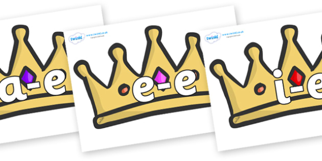 Modifying E Letters on Crowns - Modifying E, letters, modify, Phase 5, Phase five, alternative spellings for phonemes, DfES letters and Sounds