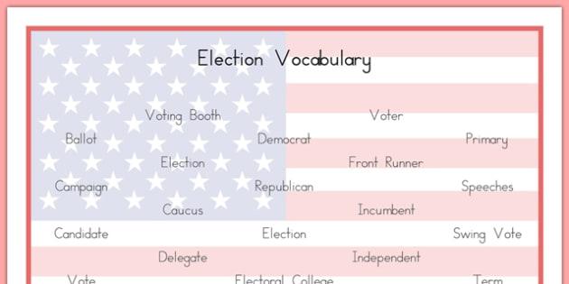 USA Election Vocabulary Word Mat - usa, america, US Resources, Election, Vocabulary