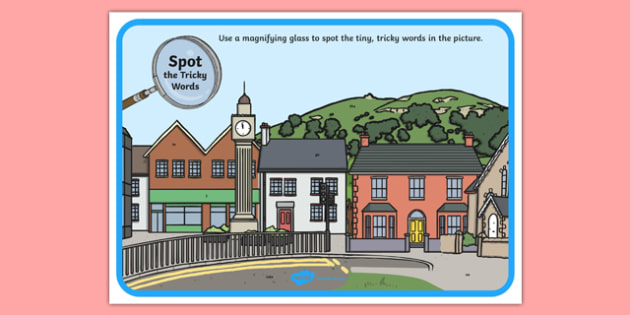 Phase 2 Tricky Words Town Scene Magnifying Glass Activity Sheet, worksheet
