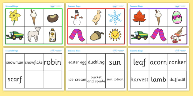 Seasonal Bingo and Sorting Activity - seasonal bingo, bingo, game, activity, sorting, sorting cards, seasons, autumn, winter, summer, spring, images, matching