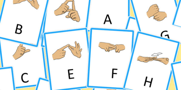 Editable British Sign Language Manual Alphabet Flash Cards - card