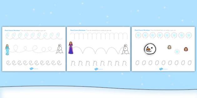 Winter Fairytale Pencil Control Worksheets - control, frozen
