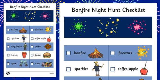 Bonfire Night Hunt Checklist - bonfire night, hunt, checklist