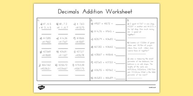 Decimals Addition Worksheet - australia, decimals, addition, worksheet