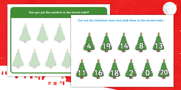 Christmas Tree Number Ordering Activity 0-20 - christmas tree, number ordering, activity, number, order, 0-20