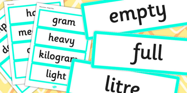 Year 2 2014 Curriculum Measurement Vocabulary Cards - measure