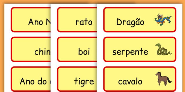Chinese New Year Topic Word Cards - chinese new year, word cards - Portuguese