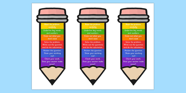 Problem Solving Pencil Bookmark or Visual Aid - problem solving, Word problem, RUCSAC, solving problems, working mathematically