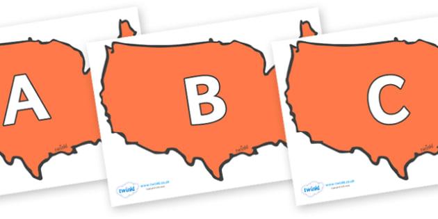 A-Z Alphabet on USA - A-Z, A4, display, Alphabet frieze, Display letters, Letter posters, A-Z letters, Alphabet flashcards