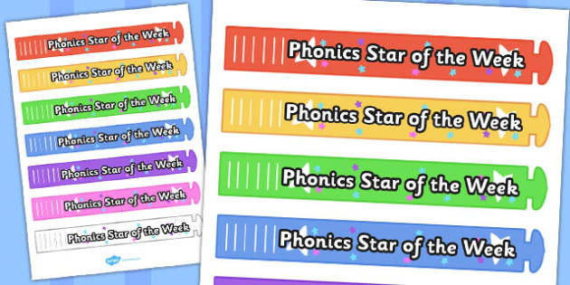 Phonics Star of the Week Wristband - phonics, wristband, star