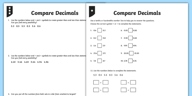 Comparing Decimals Differentiated Activity Sheets - decimals, decimal numbers, compare, comparing, one decimal place, 1 decimal place, two decimal place