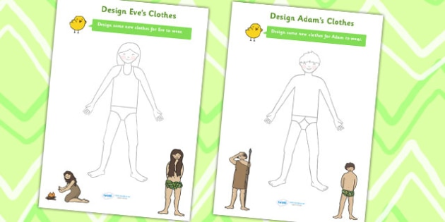Adam and Eve Clothes Design Worksheets - religion, RE, design