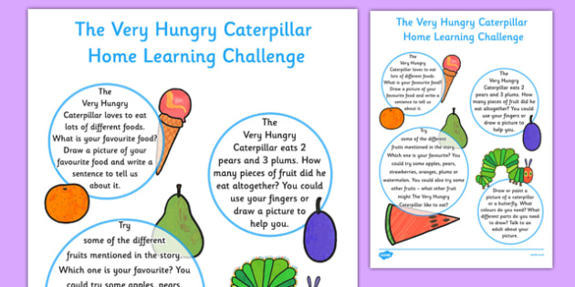 EYFS Nursery FS1 Home Learning Challenge Sheet to Support Teaching on The Very Hungry Caterpillar - EYFS, homework, Early years, insects, minibeasts, Eric Carle