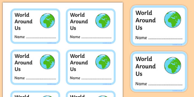 World Around Us Book Labels - world around us, book labels, display, book