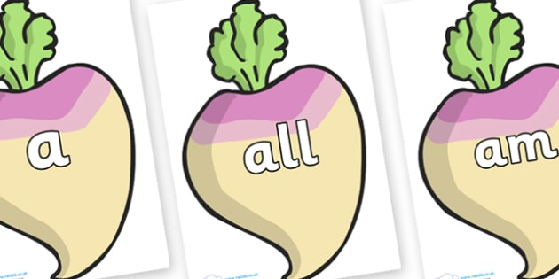 Foundation Stage 2 Keywords on Turnips - FS2, CLL, keywords, Communication language and literacy,  Display, Key words, high frequency words, foundation stage literacy, DfES Letters and Sounds, Letters and Sounds, spelling