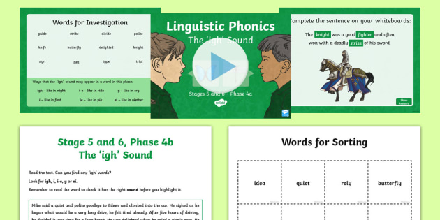Northern Ireland Linguistic Phonics Stage 5 and 6 Phase 4a 'igh' Sound PowerPoint  - Linguistic Phonics, Stage 5, Stage 6, Phase 4a, Northern Ireland, 'igh' sound, sound search, wor
