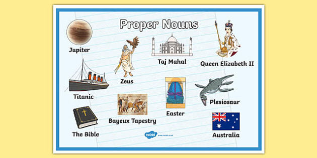 Proper Nouns Display Poster - proper nouns poster, nouns poster, nouns, words, types of words, words poster, noun examples, literacy display, ks2 english